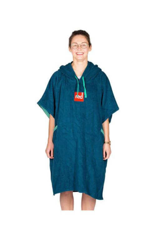 red paddle luxury towelling robe navy women